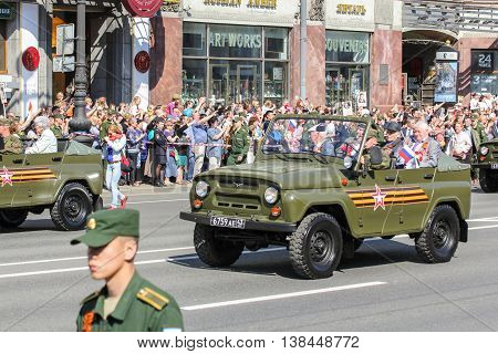 St. Petersburg, Russia - 9 May, Open military vehicles, 9 May, 2016. Memory Action