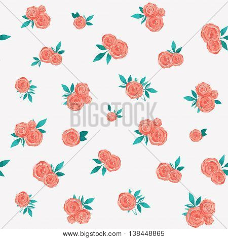 cute vector watercolor pattern with small roses