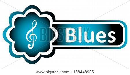 Double icon blue with a treble clef and the word blues
