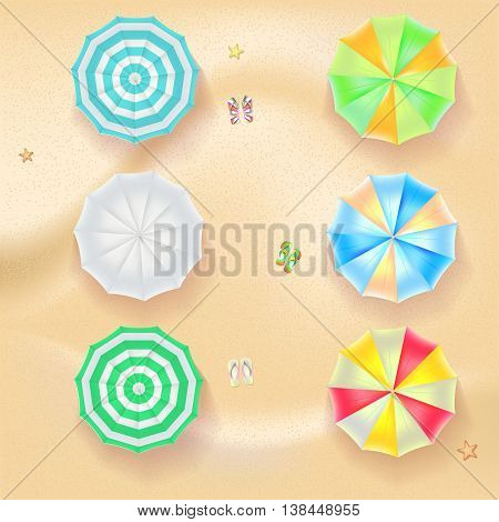Set of colorful beach umbrellas on the background of sand with beach flip flops and starfish, top view icons. Vector illustration for your design, poster, covers, invitation, or flyer.