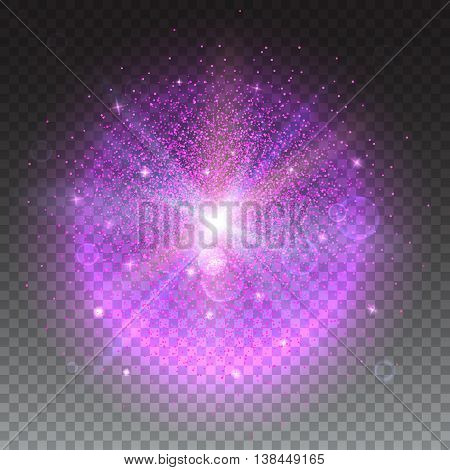 Bright glowing ball filled with particles and dust with shine and glow. The specks of light flying from the explosion on transparent background