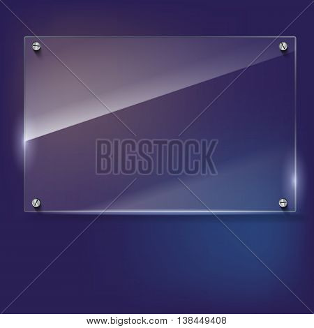 Vector glass frame with steel rivets. Glass framework. Transparent glass frame on the colored background.