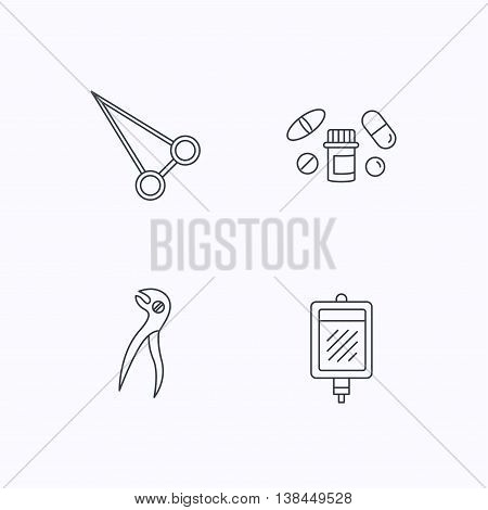 Medical pills, blood and dental pliers icons. Peans forceps linear sign. Flat linear icons on white background. Vector