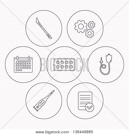 Electronic thermometer, tablets and scalpel icons. Enema linear sign. Check file, calendar and cogwheel icons. Vector