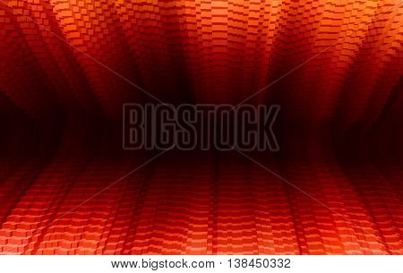 Horizontal vibrant vivid red business presentation 3d extruded cubes tunnel abstraction background backdrop