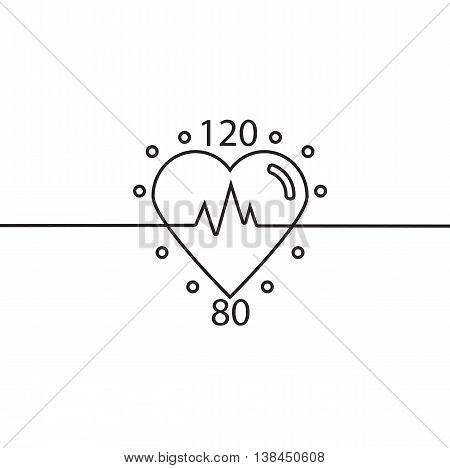 Vector icon of healthy heart pulse blood pressure. Logo cardiology clinic. Conceptual linear vector illustration.