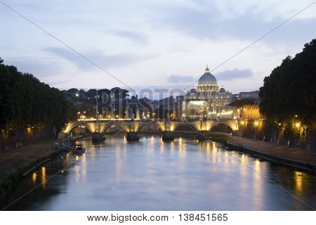 Panorama Of Rome With Tiber River And Vatican Dome.