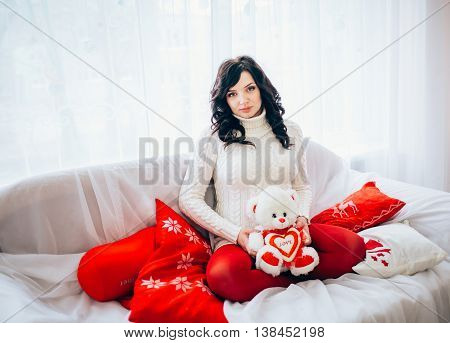 Beauty Pregnant Woman. Pregnant Belly. Beautiful Pregnant Woman Expecting Baby in Christmas