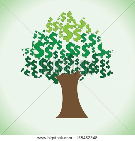 A big rich tree of large quantity dollars in it. Clipart of sacred money tree.