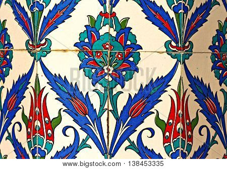 Intricate floral ceramic tiles on an old Turkish mosque