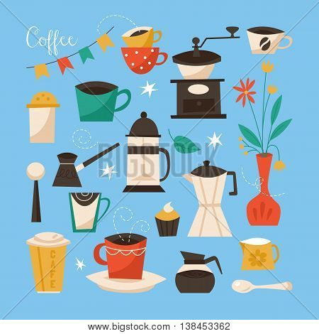 Coffee poster design. Creative vector illustration with coffee cups grinder and objects