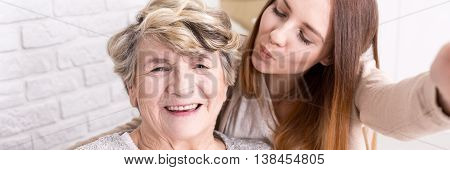 Sweet Selfie Photo With Grandmother