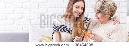 Knitting Lesson With Grandmother