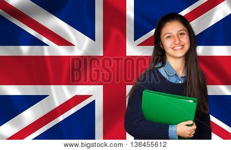 Teen Student Smiling Over English Flag