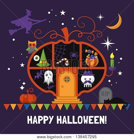Halloween card design with pumpkin house. Vector illustration