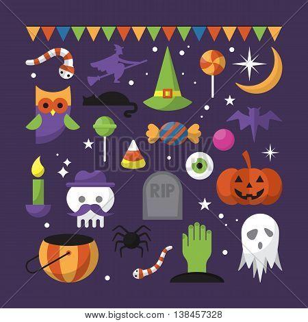 Halloween festival flat modern icons. Vector illustration
