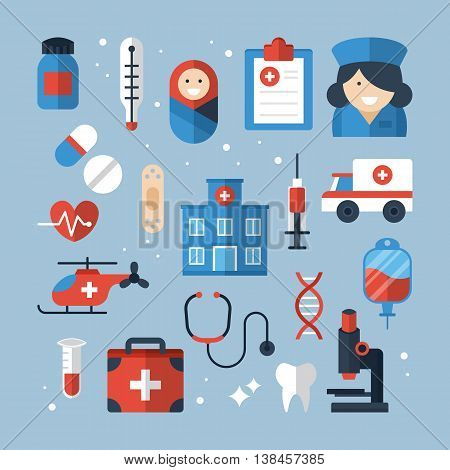 Medical diagnosis and treatment flat icons design. Vector illustration