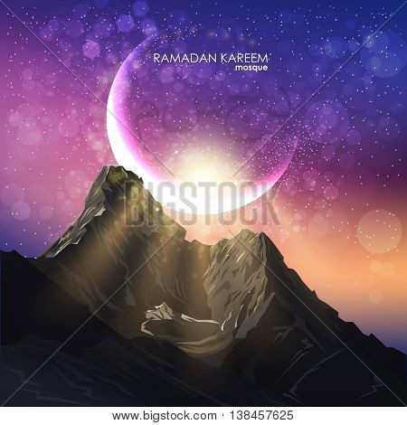 Eid al adha. Composition of muslim holy month. Vector holiday illustration. moonlight mountain