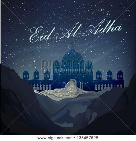 illustration of Eid Mubarak (Happy Eid) background with Kaaba. Eid al adha. Composition of muslim holy month. Vector holiday illustration. moonlight mountain