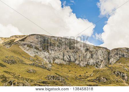 Mountains landscape scene at Cajas national park in Cuenca Ecuador South America.