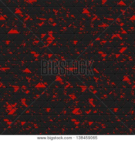 Black triangles of metal stone with red spots. Seamless vector grunge colorful texture. Technology seamless pattern. Vector geometric dark background.