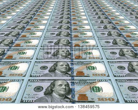 Dollar Background. New One Hundred Dollars.