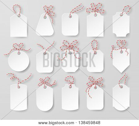 Price tags and gift cards tied up with twine bows set. Label paper, sale design, tring knot, vector EPS 10 illustration.