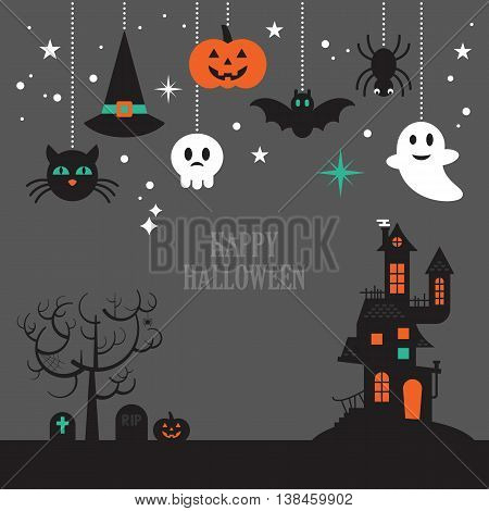 Halloween background with decorative elements for design. Vector illustration