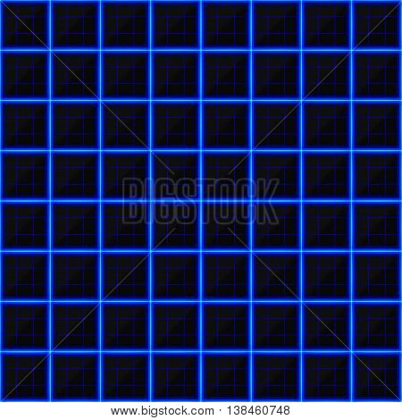 Squares of black stone with blue streaks of energy. Seamless vector texture. Technology seamless pattern. Vector geometric dark background.
