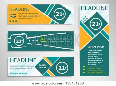 21 Plus Years Old Sign. Adults Content Icon On Horizontal And Vertical Discount Banner