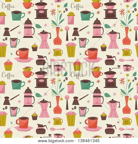Seamless pattern with coffee cups and coffee grinder. Vector illustration