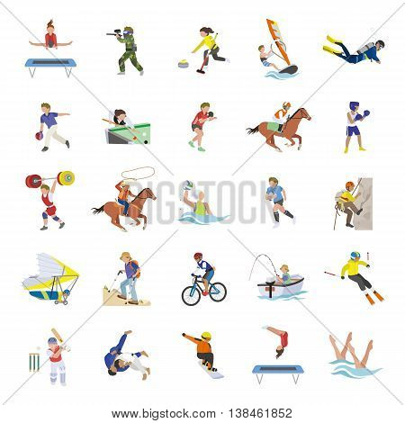 Sports II color vector icons collection set