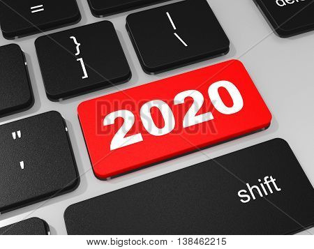 2020 New Year Key On Keyboard.