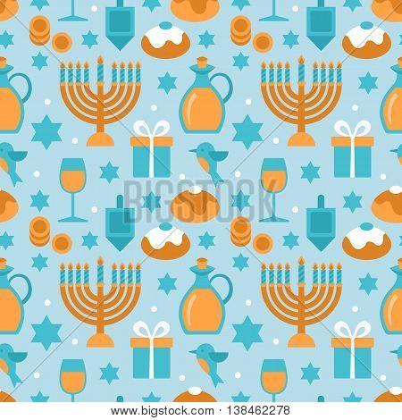 Hanukkah seamless pattern modern flat design. Vector illustration