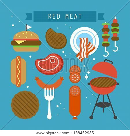 Red meat and processed meat flat stylish icons. Vector illustration