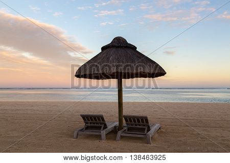 Beach Chairs At Sunset Le Morne Mauritius
