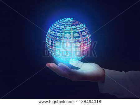 Software engineer holding technology icons and Code in Globe shape. this also represents a business man owning Information technology services in hands an analyst architect reviewing design debug