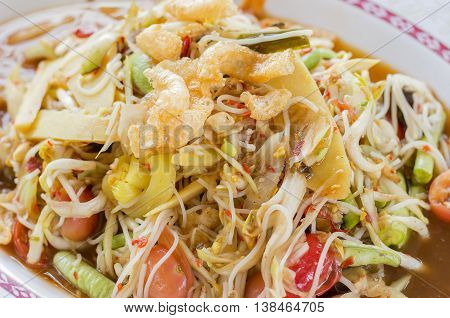 papaya salad Thailand's food called Som Tam Close up soft focus