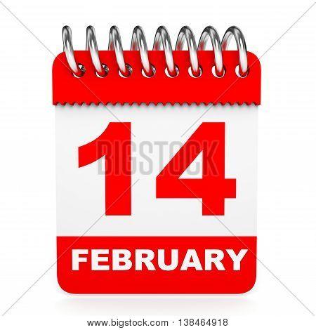Calendar On White Background. 14 February.