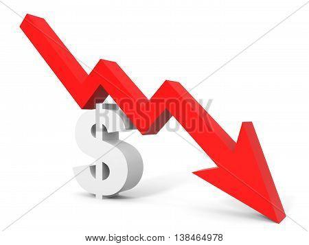Graph Down Dollar Sign Arrow.