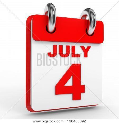 4 July Calendar On White Background.