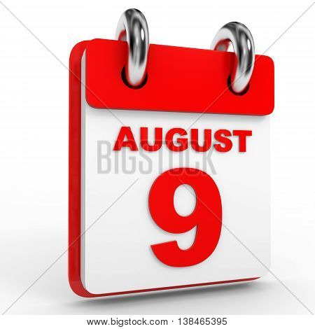 9 August Calendar On White Background.