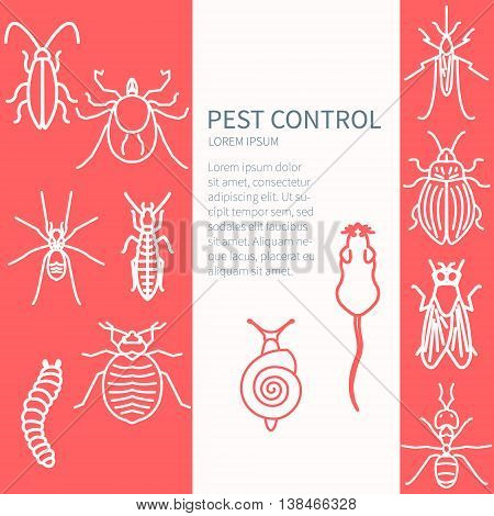 Pest control design template with insect line icon set and place for text. It can be used for web and mobile applications by exterminator service and pest control companies. Vector illustration.