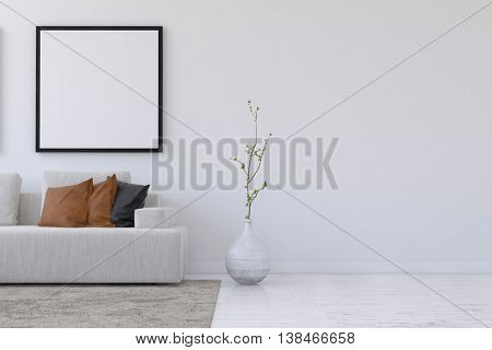 Straight on 3D rendering of simple living room with sofa and plant underneath blank square picture frame and wall with copy space