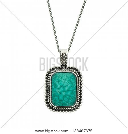 blue pendant with gems on white background