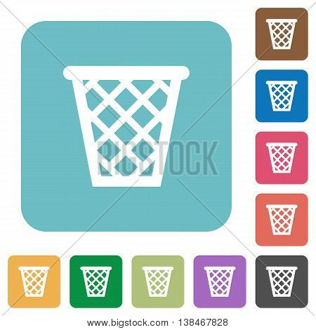 Flat trash symbol icons on rounded square color backgrounds.