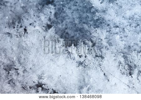 Macro shot of hoarfrost structure - winter background
