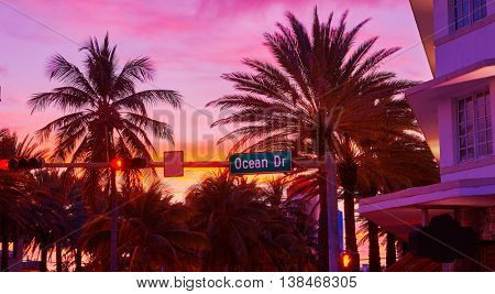 Miami Beach South Beach sunset in Ocean Drive sign Florida