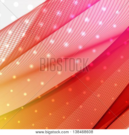 Background With Light Dots And Lines. Abstract Background. Vector Illustration. Red, Yellow, Orange,