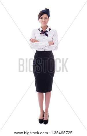 Full Length Portrait Of Young Beautiful Stewardess Standing Isolated On White